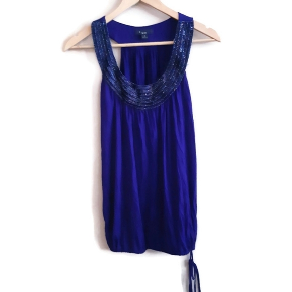 XXI | purple sequined drapey tank top